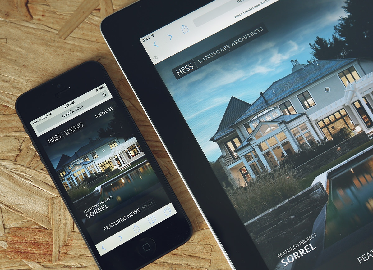 Mobile-friendly website design for Hess Landscape Architects
