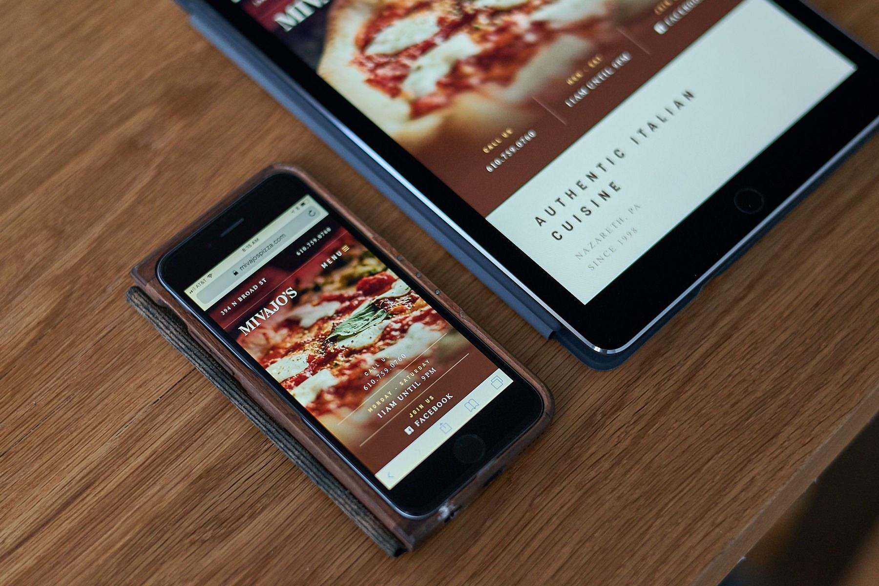Mobile friendly website design for Mivajo's Pizza