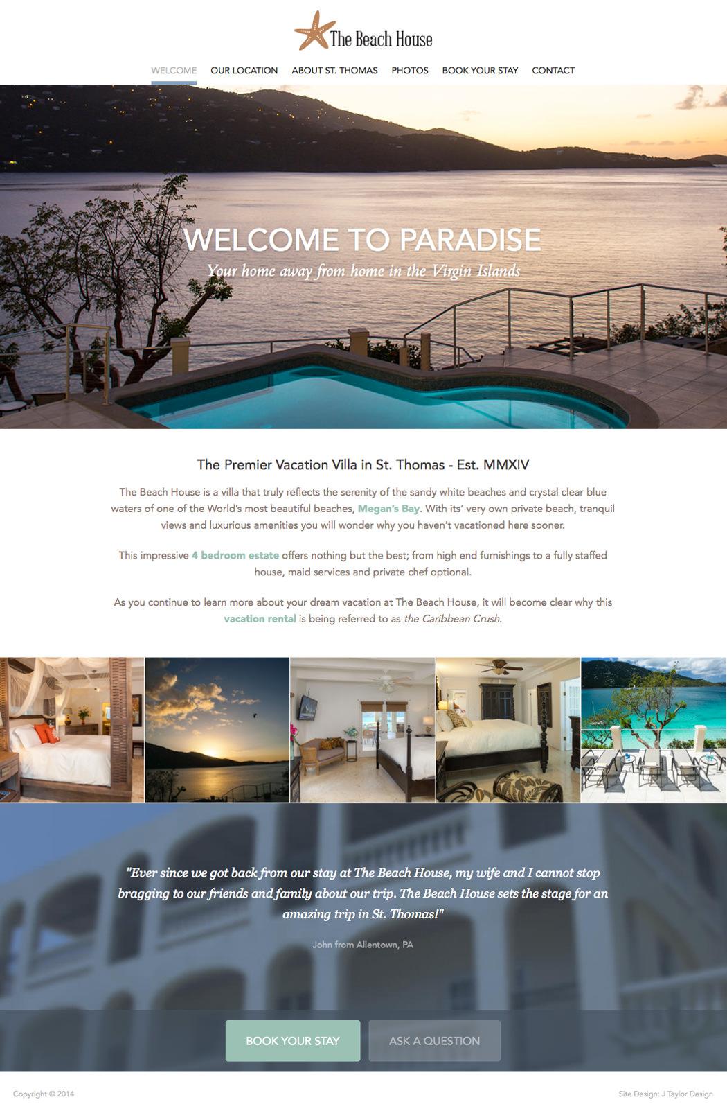 The Beach House Virgin Islands Website Design